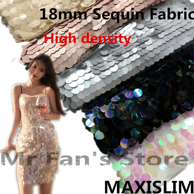 DIY High Density Sequins Fabric 18MM Sequins Fish Scales Mesh Fabric Live Shooting Background Clothing  Free Shipping 130CM Wide