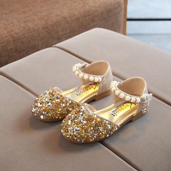 Letnie dziewczęce buty koralik Mary Janes mieszkania Fling księżniczka buty dziecięce buty do tańca sandały dziecięce dziecięce buty ślubne Gold MCH118 tanie i dobre opinie Wiosna i jesień Kobiet 3-6y 7-12y 12 + y Bling Hook loop Rubber