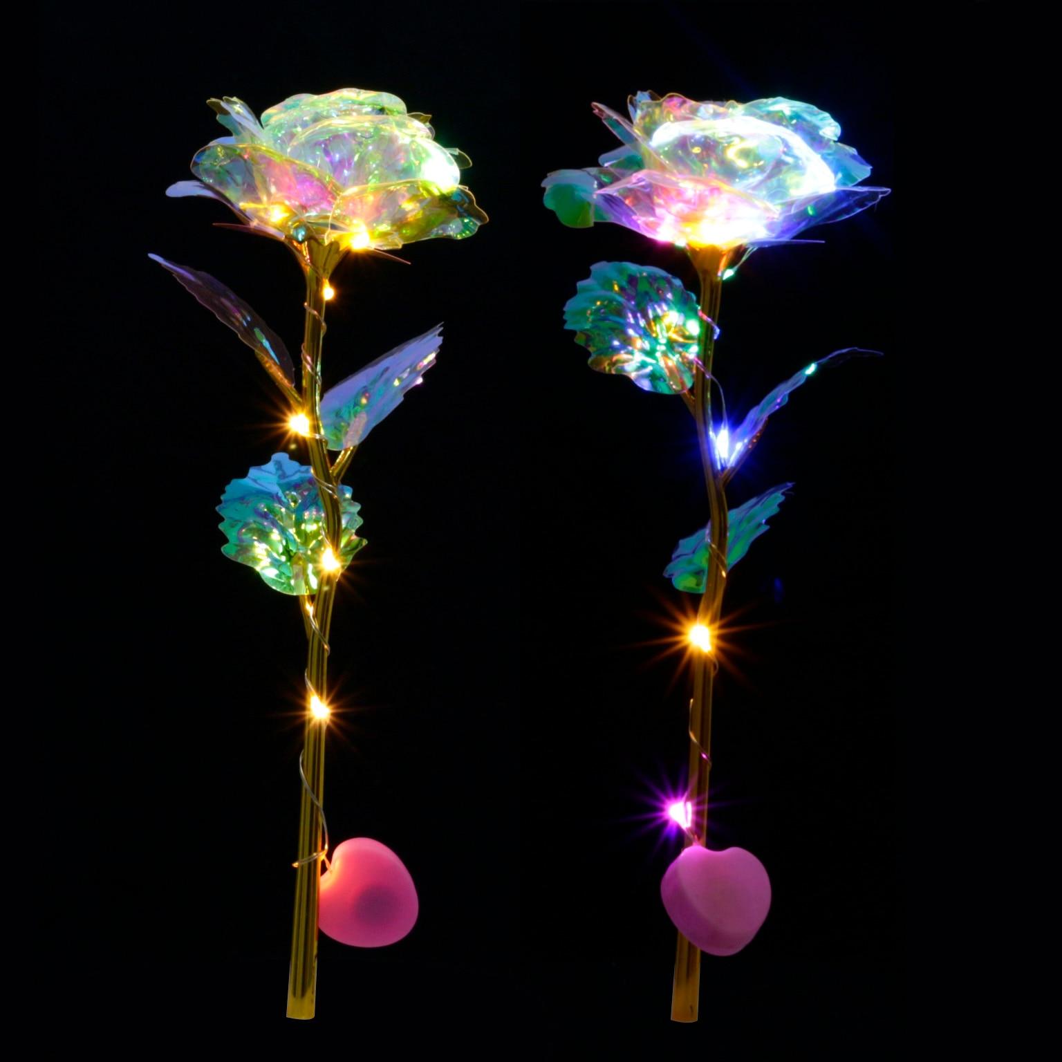 Romántico colorido LED Hada Rosa Artificial galaxia rosas flores para niña amiga San Valentín Regalo boda fiesta hogar Decoración Rosas artificiales amantes de la flor del Día de San Valentín cristal Rosa regalos de boda pequeño regalo fiesta festiva suministros flores