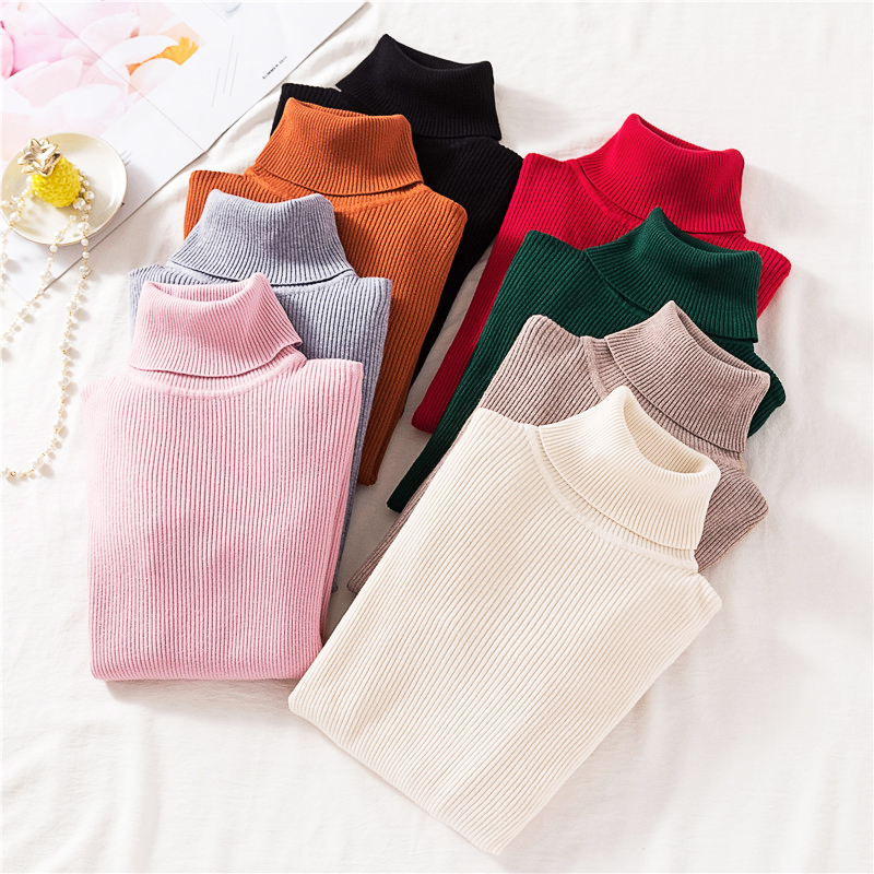 Vintage Turtleneck Female Sweater Solid Winter Warm Long Sleeve Sweater Casual Slim Knitted Pullovers Women Knitting Sweater