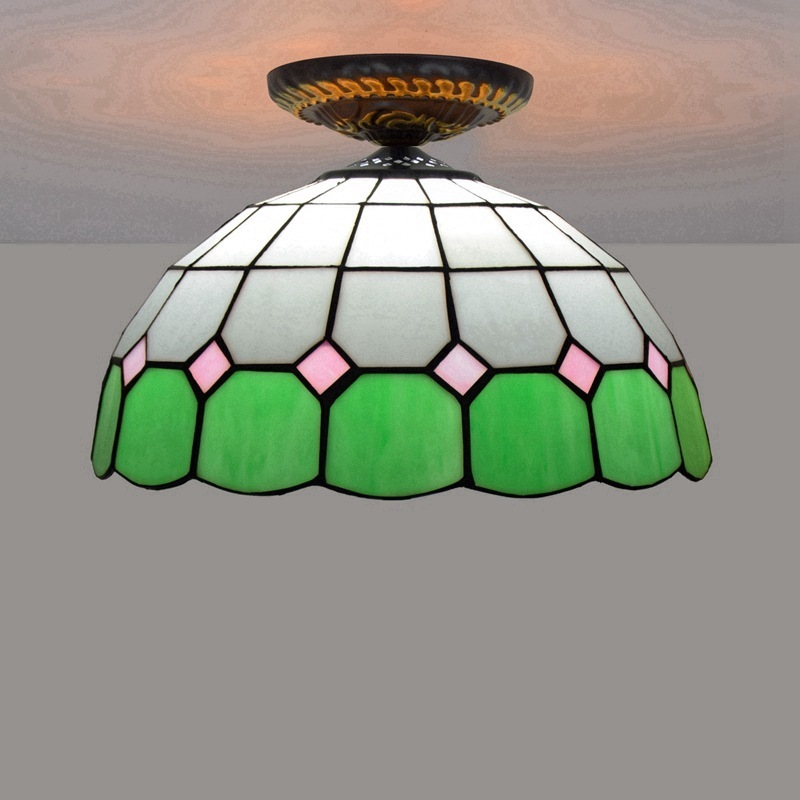 30 cm European Mediterranean restaurant green tiffany stained glass corridor corridor bathroom bedroom absorb dome light