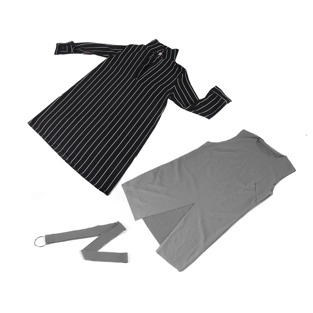 2 Pieces Set Women Dress Suit Office Sets Spring Autumn Tracksuit  Striped Shirt Wool Vest Dress Split Dress Female Outfits