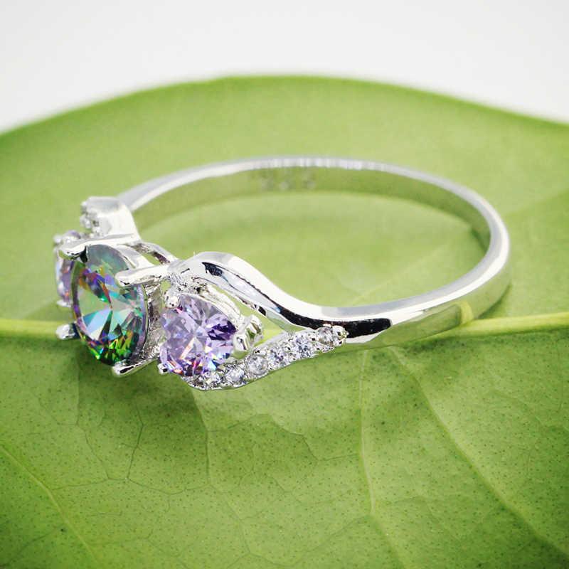 Lingmei Mode Engagement Liebe Herz Runde Cut Multi & Lila & Weiß & Blau Zirkon Silber Farbe Ring Größe 6-13 Dropshipping