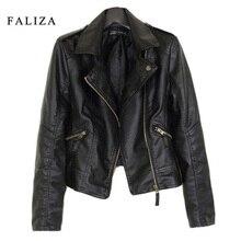 FALIZA 2019 New Fashion Women Leather Jackets Short PU Jacket Woman Female Moto Casaco Feminino Turn Down Collar JK002