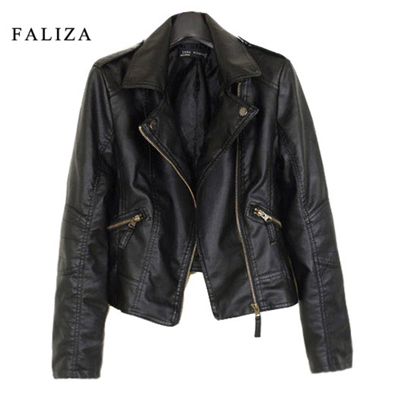 FALIZA 2019 New Fashion Women   Leather   Jackets Short PU   Leather   Jacket Woman Female Moto Casaco Feminino Turn Down Collar JK002