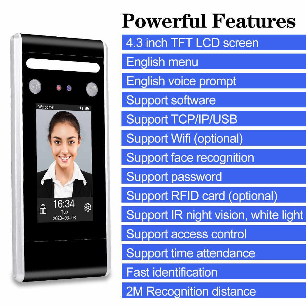 Akses Internet Nirkabel Dinamis Wajah Mesin Absensi Wajah Biometrik Perangkat Lunak Sistem 125KHz/13.56MHz RFID Access Control Keypad TCP/IP/USB