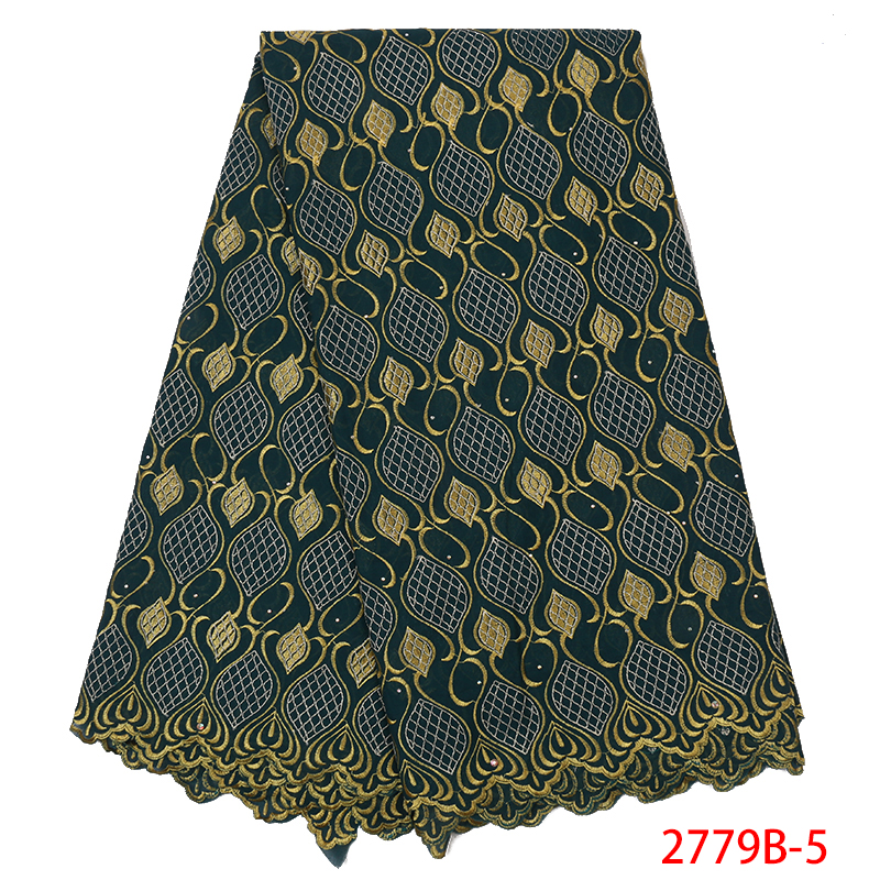 Hot Sale Swiss Cotton Lace, Latest Nigerian Embroidered Lace,High Quality African Lace Fabrics With Stones KS2779B-5