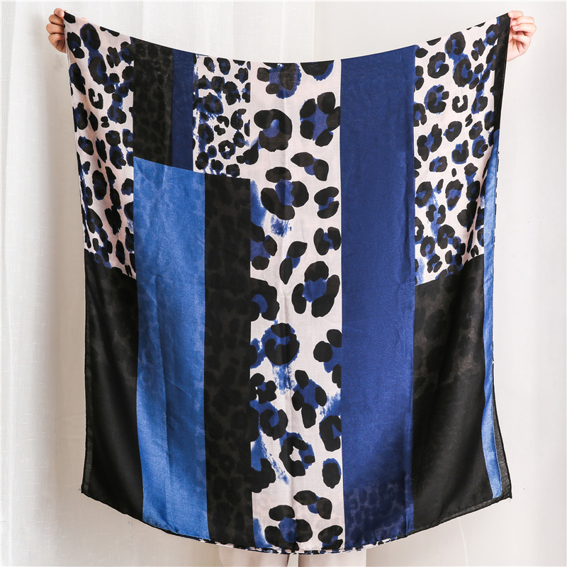Accesorios Mujer Winter Scarf Women Autumn Long Blue Red Orange Leopard Patchwork Scarf Pashmina Ladies Office Work Wear