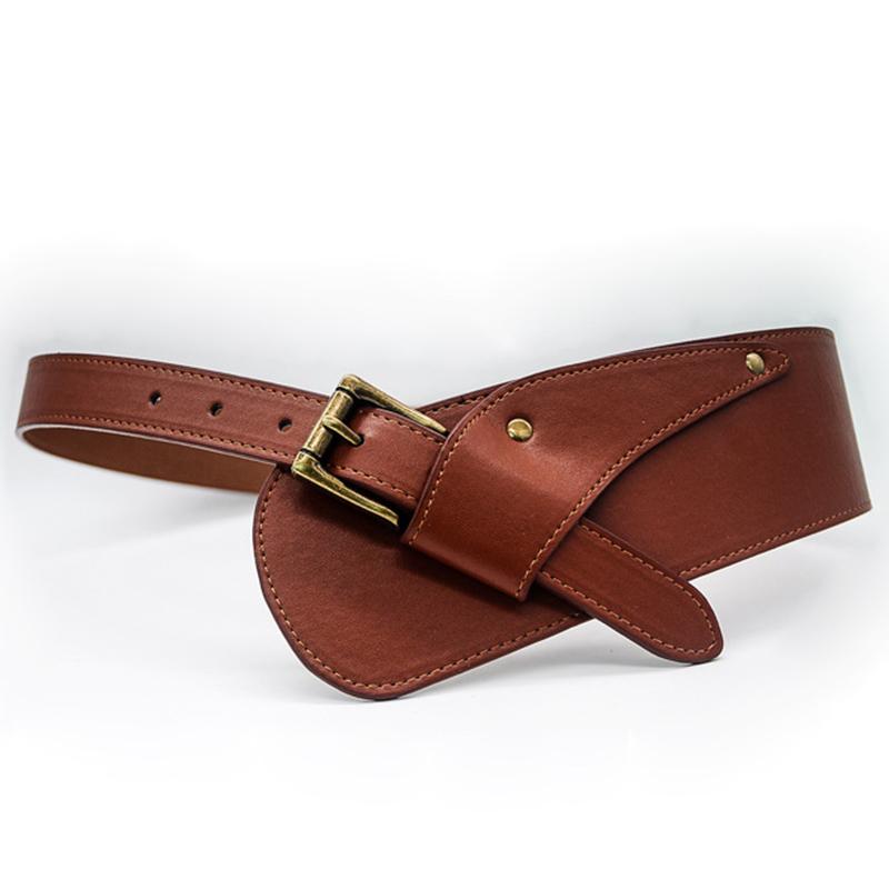 Women's New Wide Leather Corset Belt Fashion Designer Metal Pin Buckle Tie Obi Leisure Belts for Ladies Wedding Dress Waistband