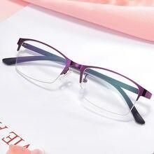 Occhiali da donna miopia occhiali da vista da donna a mezza montatura Anti-blue Light occhiali da vista da uomo-1.0 a-4.0