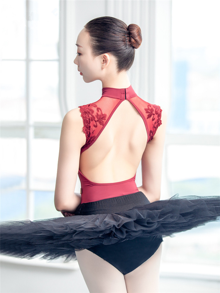 Sexy Dance Leotards One-piece Dance Practice Clothes Women Lace Gymnastics Dancing Costume Adult High Collar Ballet Leotard
