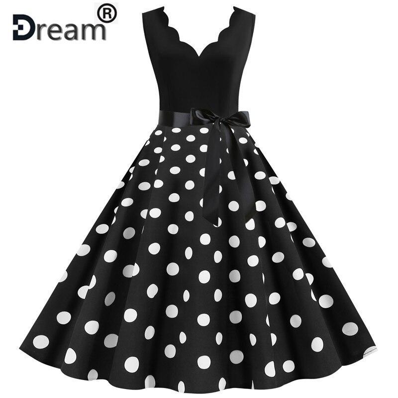 Летняя женская юбка с высокой талией в стиле Одри Хепберн 1950s 60 рокабилли с v-образным вырезом, с узором в горошек и бантом платье пинап с Баль...
