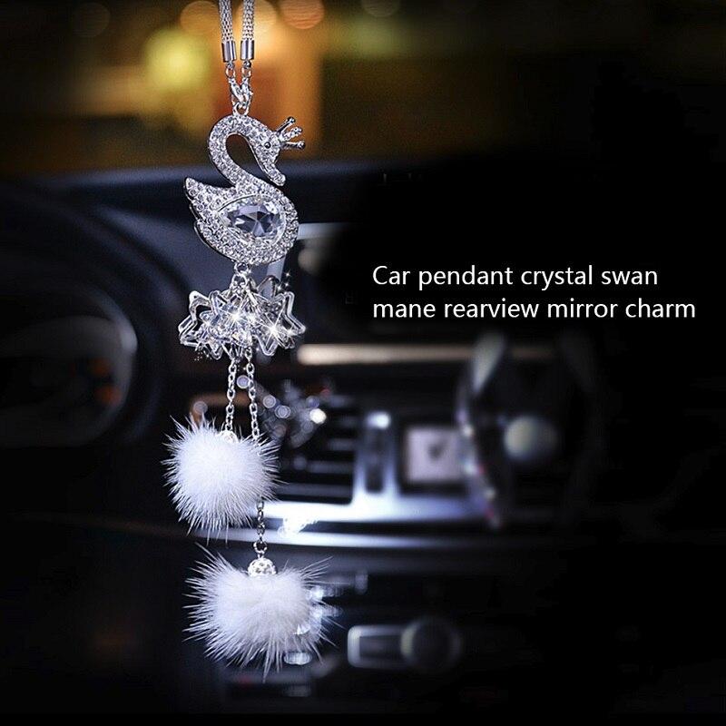 Fashion Car Pendant Diamond Crystal Fur Ball Swan Element Decor Automobile Rearview Mirror Car Hanging Ornaments Accessories