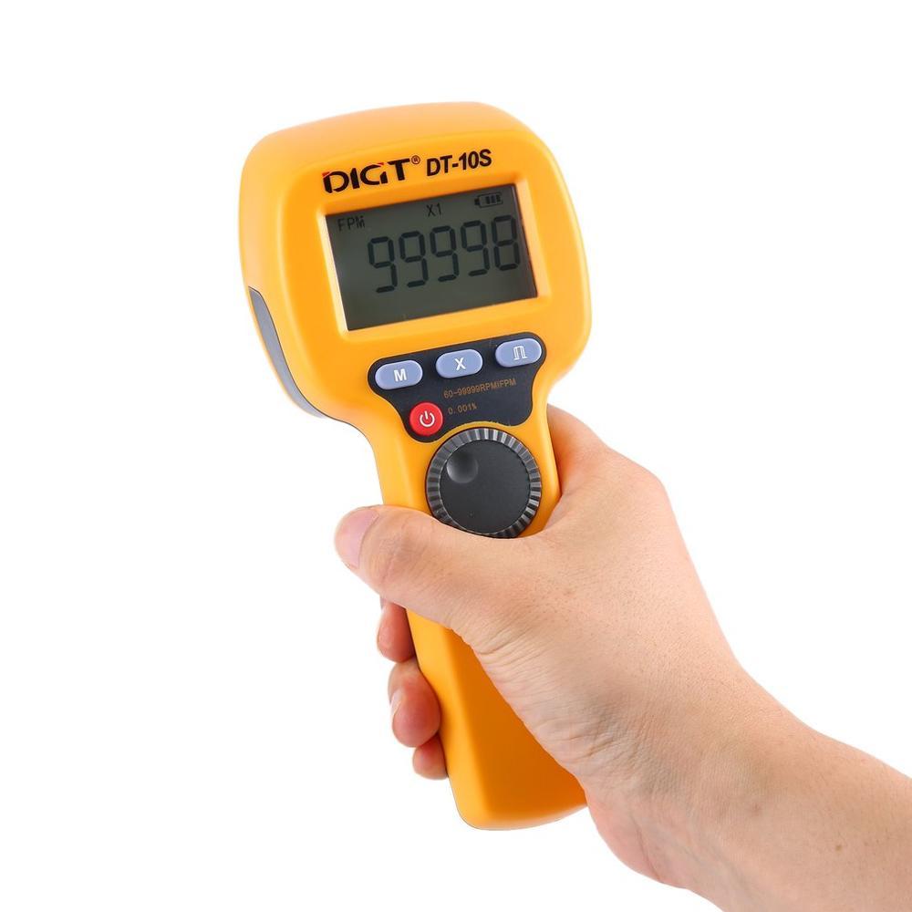 DIGT DT-10S 7.4V 2200mAh 60-99999 Strobes/min 1500LUX Handhold LED Stroboscope Rotational Speed Measurement Flash Velocimeter