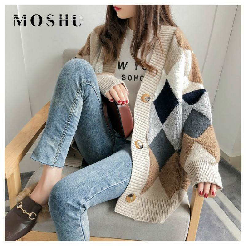 Women Plaid Sweaters Fashion Casual Buttons Cardigans Single Breasted Puff Sleeve Loose Jumper Autumn Winter 2019 Outwear