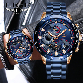 Mens Watches LIGE Top Brand Luxury Chronograph Wrist Watch All Steel For Men Waterproof Quartz Relogio Masculino