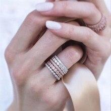 5 шт. Розовое Золото Полный Кристалл Кольца Набор для женщин ювелирные изделия серебро палец кольца для женщин покрытие набор серебряных колец женский свадебный Pro