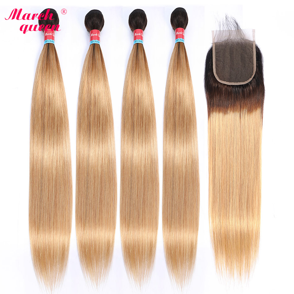 Marchqueen Ombre Brazilian Straight Hair 4 Bundles With Closure Pre-Colored T1B/27 Human Hair Weave With Closure Non Remy Hair