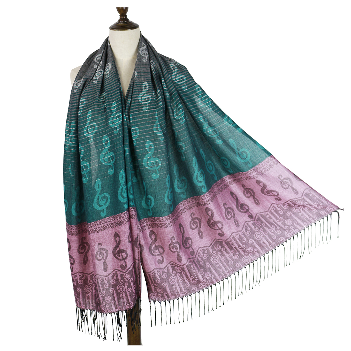 scarf   female fringe music note G-clefs fashion Jacquard   scarf   pashmina shawl   wrap   winter   scarf   woven shawls bandana