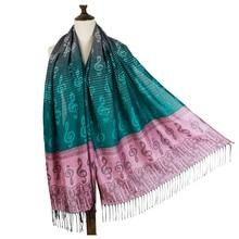 jzhifiyer scarf female fringe music note G-clefs fashion Jacquard pashmina shawl wrap winter woven shawls bandana
