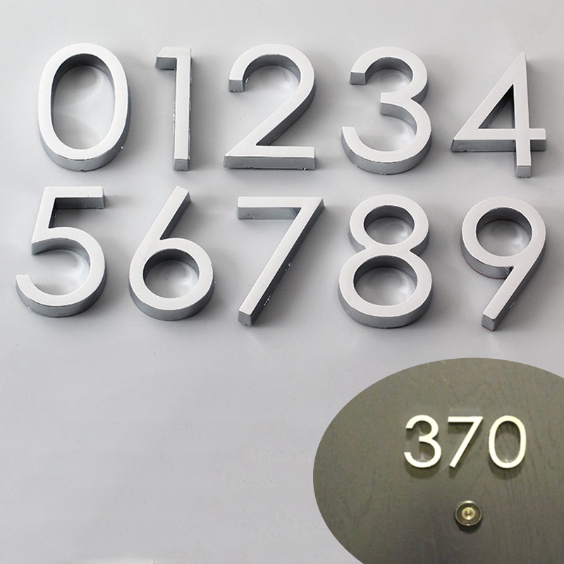 1pc 3D Numeral Door Plaque House Drawer Sign Plating Gate Digits 0 to 9 Plastic Number Tag Hotel Home Sticker Address Door Label(China)