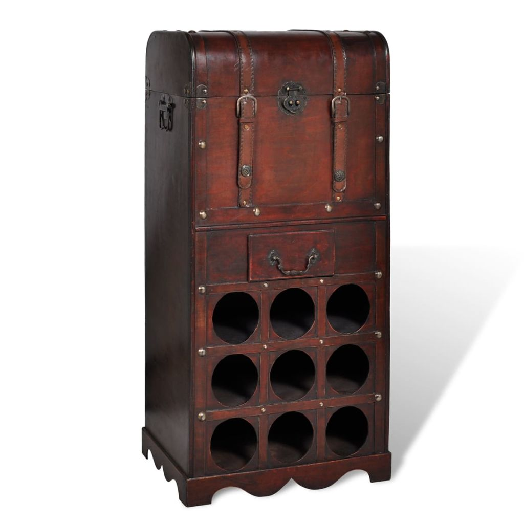 VidaXL Wooden Wine Rack For 9 Bottles With Storage
