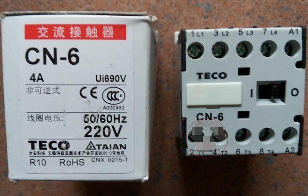 1PCS CN-6 TECO 220VAC Magnetic Contactors New