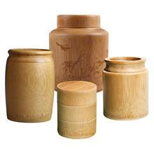 Портативный ручной работы бамбуковая чайная канистра для хранения специй Caddy Коробка органайзер из натурального дерева сушеная фруктовая бамбуковая трубка маленькие баночки для бутылок