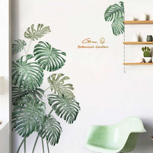 Green Plant Wall Sticker DIY Peony Rose Flowers Beach Tropical Palm Leaves Wall Stickers Modern Art Vinyl Decal Wall Mural