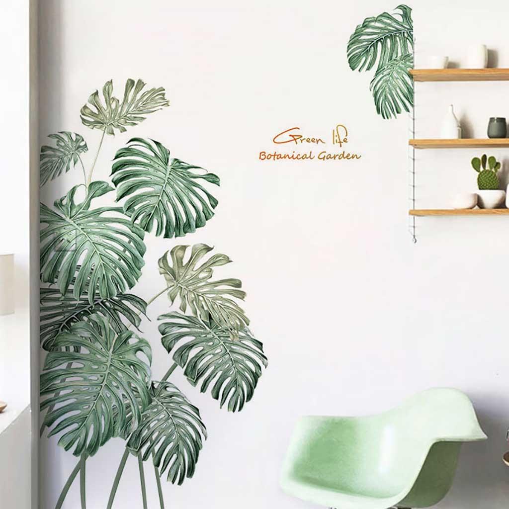 Pegatina de pared con planta verde DIY, pegatinas de pared de hojas de palma y playa con flores de Rosa peonía Tropical, calcomanía artística moderna de vinilo para pared|Adhesivos para pared|   - AliExpress