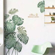 Pegatina de pared con planta verde para pared calcomanía de vinilo de peonías, rosas, hojas de palma de la playa, Tropical, arte moderno, calcomanía de pared