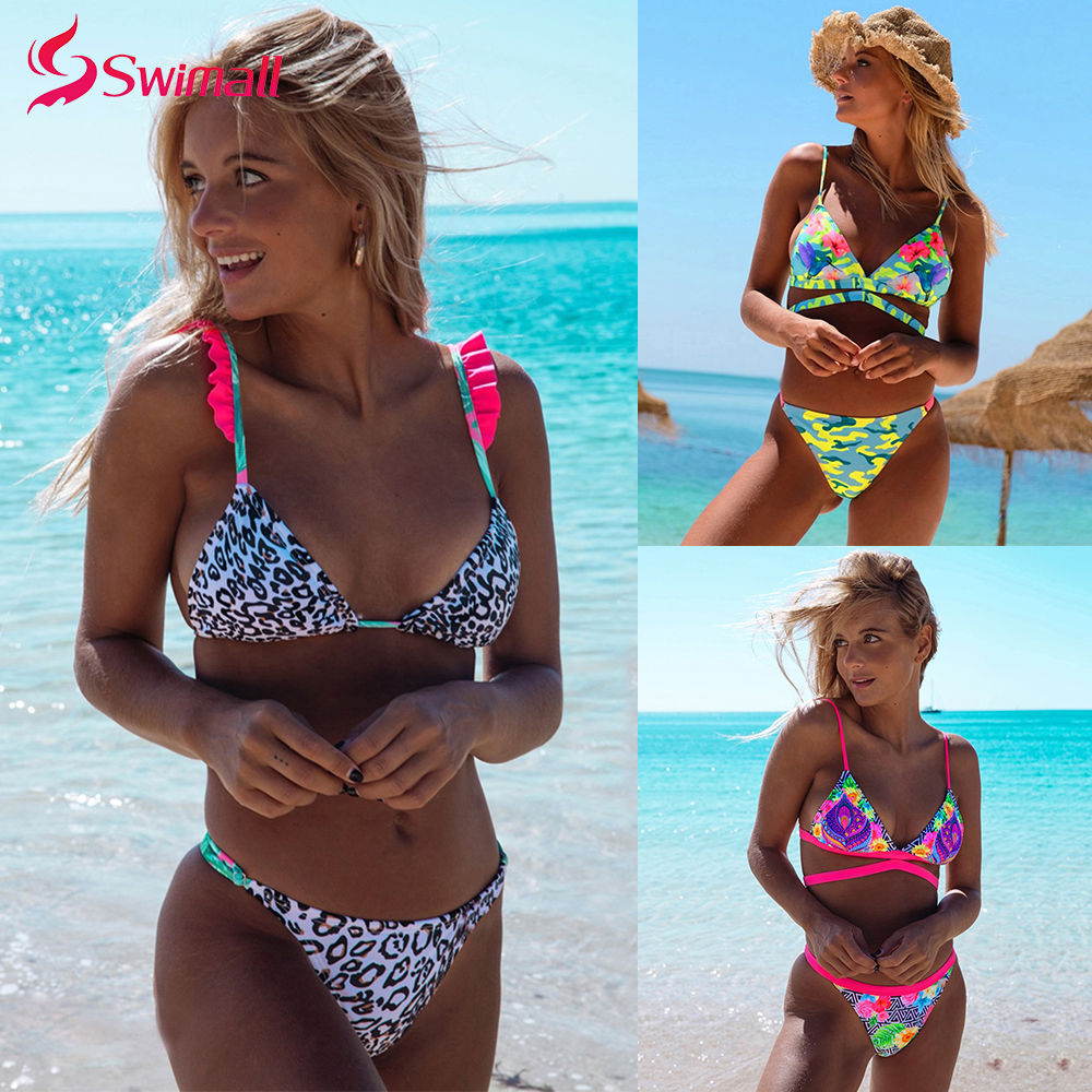2020 New Ruffle Bikinis Women Swimsuit Cross Bandage Swimwear Push Up Bikini Set Beach Bathing Suit Brazilian Biquni Print