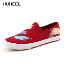 NUHEEL women shoes fashion trend comfortable canvas shoes for women printed non-slip sneakers women обувь женская