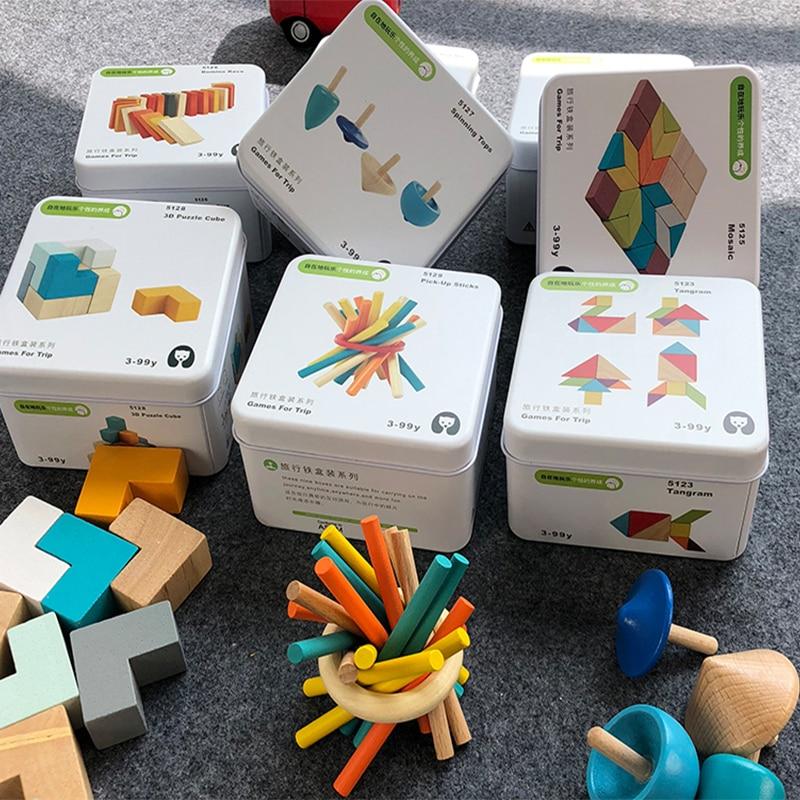 Juguetes de madera para aprendizaje temprano, inteligencia educativa, juguetes de bloques de construcción portátil para niños, Viajes, regalos de juego cognitivos interactivos