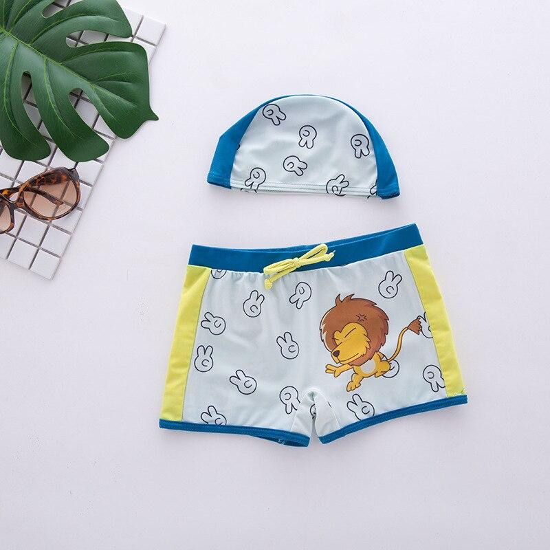 Blemish CHILDREN'S Swimming Trunks Split Type Swimming Trunks Kids Swimsuit Boxer Swimwear Cartoon Lion Printed Beach Shorts