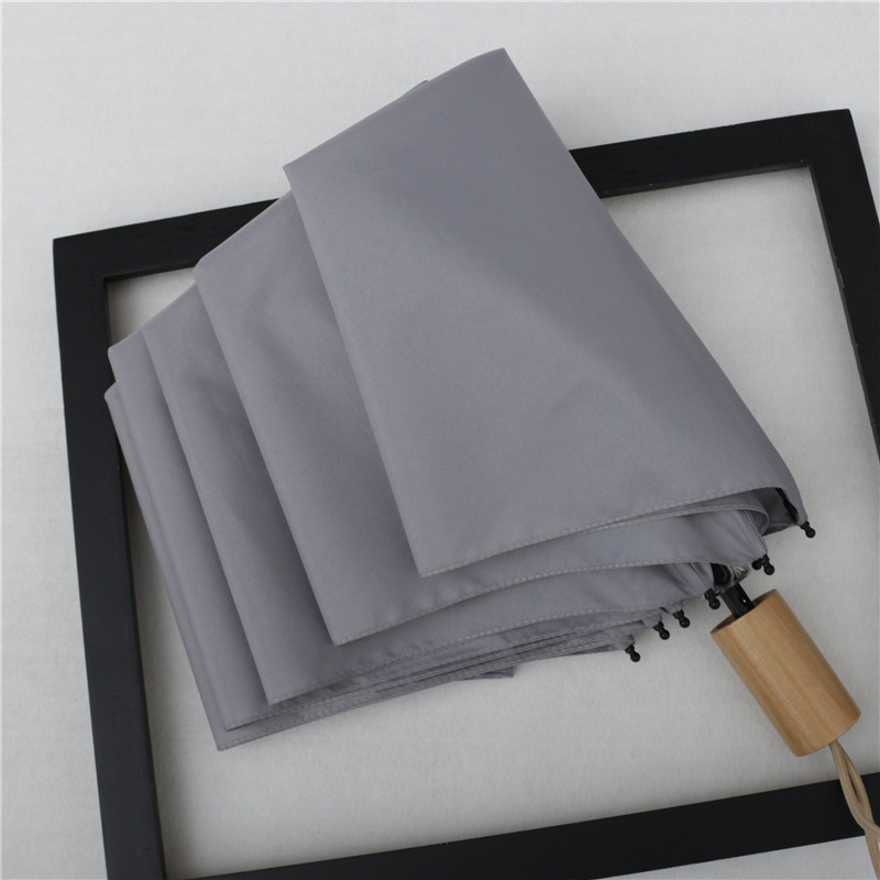 Hipster Folding Umbrella Japanese-style Solid Color Simple Parasol Vinyl Sun-resistant Dual Purpose Parasol Umbrella