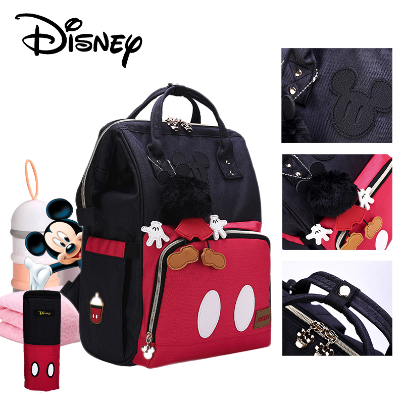 Disney Mickey Classic Red Diaper Bags Mummy Maternity Backpack Waterproof Large Capacity Bag Nursing Baby Bag Travel Nappy Bags