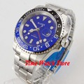 Bliger 40 мм GMT 3804 автоматические мужские часы с синим циферблатом  светящийся стеклянный керамический ободок saphire