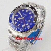 Bliger 40mm GMT 3804 reloj automático para hombres esfera azul luminoso zafiro vidrio cerámica bisel
