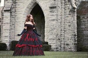 Image 5 - Винтажное Черное Красное Бальное Платье, Свадебное платье, готическое платье с открытыми плечами и кружевной аппликацией, свадебные платья 2020