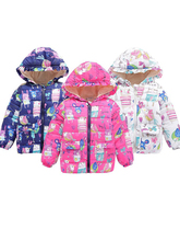 Girls Jackets Kids Thickening High Quality Warm Outerwear Children Clothing Baby girl Printed Cotton Hooded Coat Tops