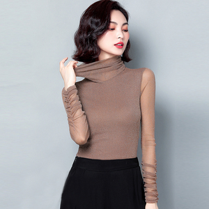 Shiny Lurex Elasticity Long Sleeve Shirt Women Blouse 2020 Fashion Ladies Clothes Turtleneck Casual Tops Womens Blouses Shirts