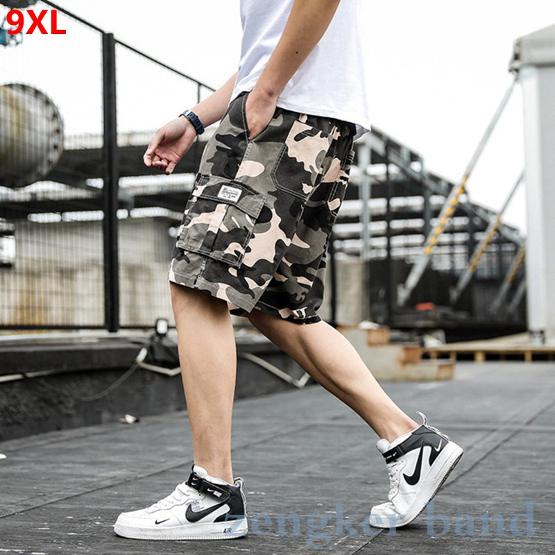 Oversized Overalls Shorts Men's Loose Cotton Summer Thin Section Plus Size 9XL 8xl Casual Camouflage Shorts Multi-pocket