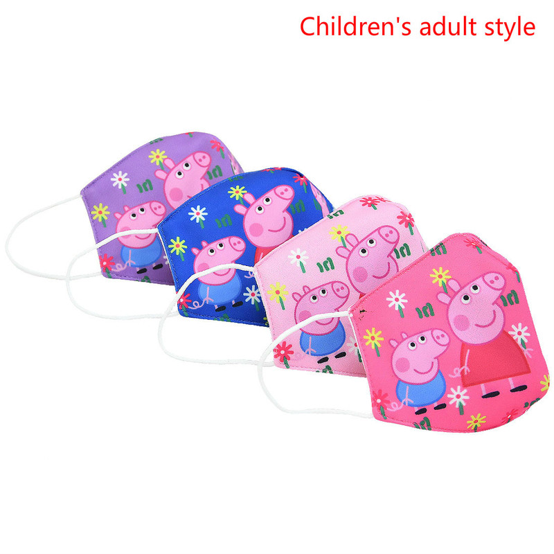 New Peppa Pig Anti Pollution Mask Dust Respirator Washable Reusable Children Kid Adult Masks Cottons Mouth Travel  For Gift
