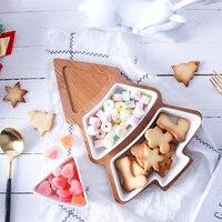 В форме рождественской ёлки фруктовая теарелка керамическая Конфета тарелки для фруктов миски поднос для завтрака рождественские украшен...