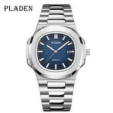 PLADEN męskie zegarki luksusowe marki wysokiej jakości stal pasek zegar dla mężczyzn mody wodoodporny projektant zegarek dla nurka dla mężczyzn 2021