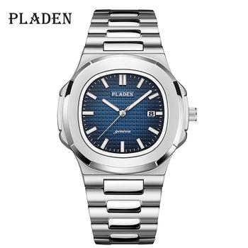PLADEN męskie zegarki luksusowe marki wysokiej jakości stal pasek zegar dla mężczyzn mody wodoodporny projektant zegarek dla nurka dla mężczyzn 2021 tanie i dobre opinie 25 5cm Moda casual QUARTZ NONE 3Bar Klamerka z zapięciem CN (pochodzenie) STAINLESS STEEL 10mm Hardlex Kwarcowe zegarki
