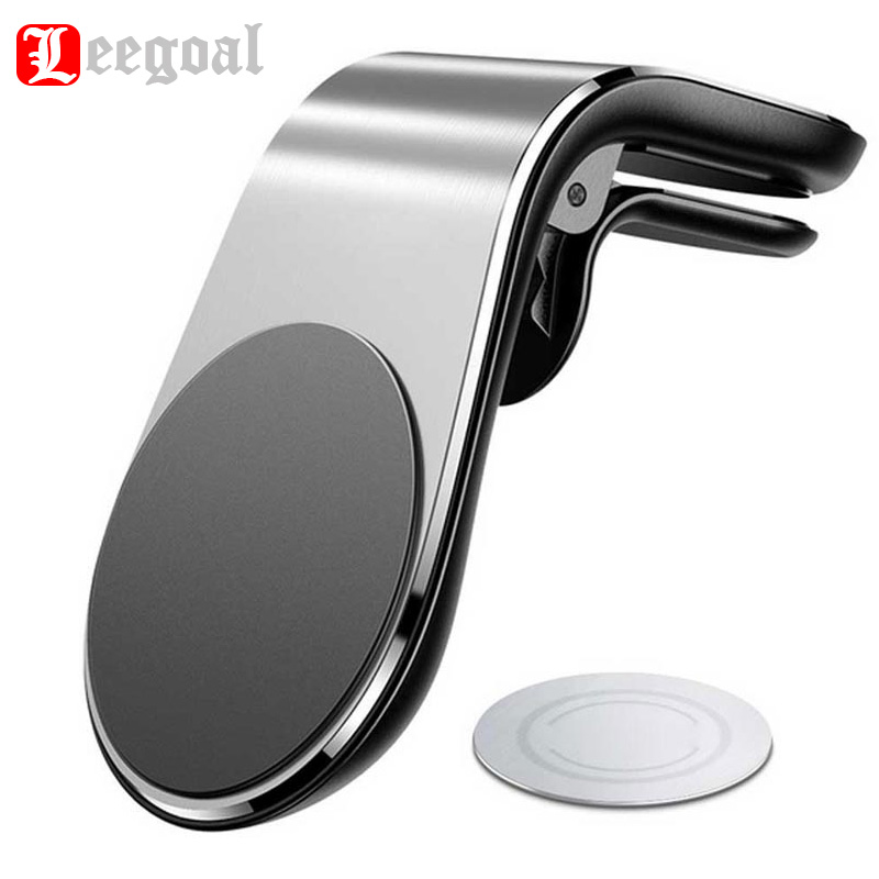 New Design Universal L- Type Magnetic Car Phone Stand Holder Aluminium Air Vent Mobile Phone Holder For IPhone Samsung Xiaomi