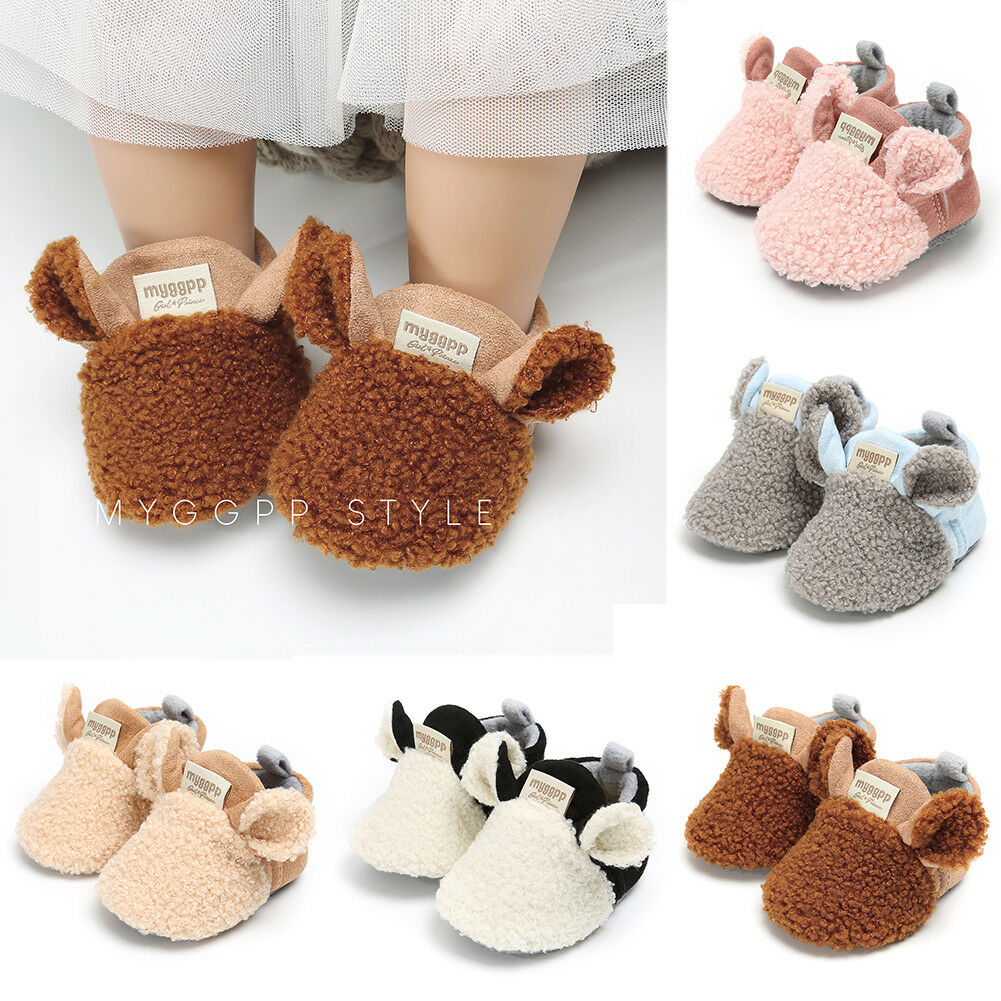 Cute Solid Soles Velcro Fleece Toddler Girl Snow Boots Shoes Newborn Baby Autumn Winter Cotton Warm Soft Sole Plush Prewalker