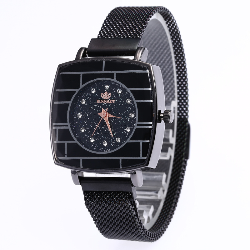 For JOOM Sell Like Hot Cakes In Same Star Contracted Disc Set Auger Wrist Steel Mesh Belt Magnetic Buckle Square Watch